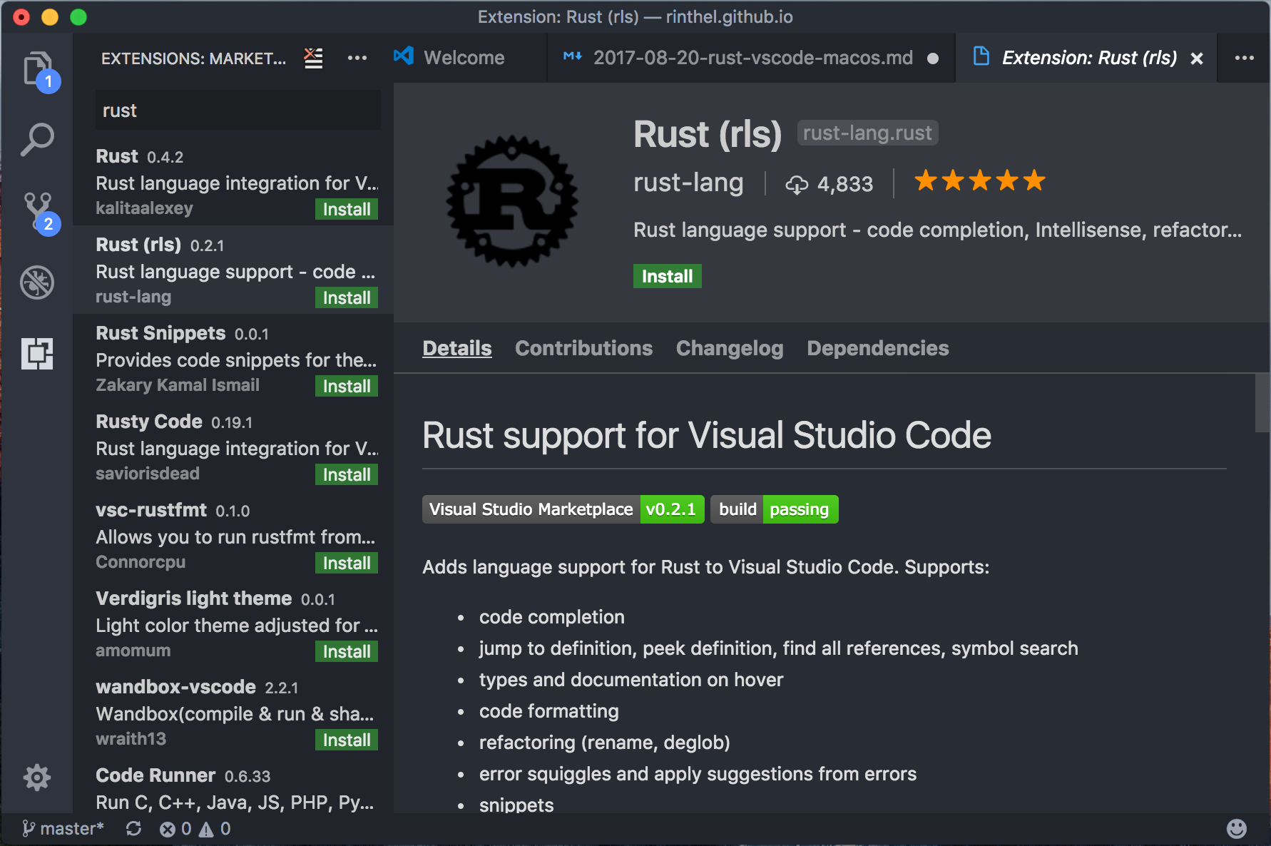 vscode extension - rust rls